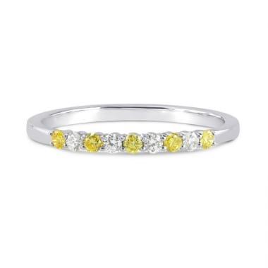 Fancy Intense Yellow and White Diamond 9 Stone Stacking Band Ring 16854