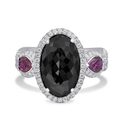 Fancy Black Oval Diamond and Ruby Ring 169116