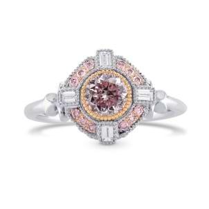 Fancy Intense Purplish Pink Round Diamond Engagement Ring 1695144