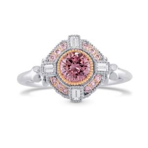 Fancy Intense Pink Round Diamond Engagement Ring 1695144