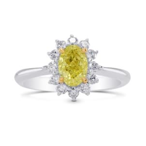 Fancy Yellow Oval Diamond Floral Halo Ring 1698540