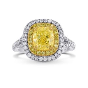 Fancy Light Yellow Cushion Diamond Halo Ring 1700748