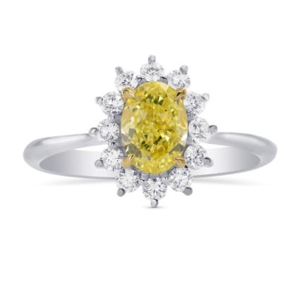 Fancy Yellow Oval Diamond Engagement Ring 1705470