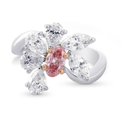 Argyle Fancy Intense Pink and White Diamond Designer Ring. 171222