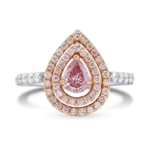 Fancy Intense Purplish Pink Pear shape Double Halo Ring 171240