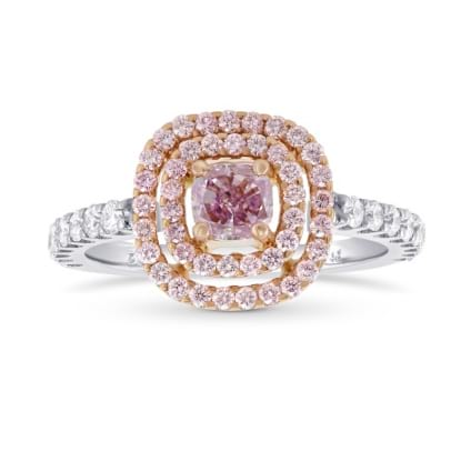 Fancy Intense Purplish Pink Double Halo Diamond Ring. 171246