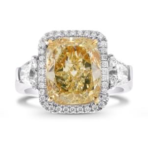 Fancy Yellow Diamond Side Stone and Halo Ring 171840