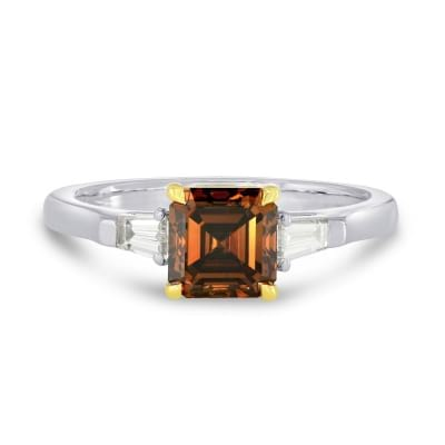 1.50ct Fancy Dark Orange Brown Diamond Emerald and Taper solitaire Diamond Ring 172074