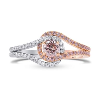 Fancy Light Orangy Pink  Crossover Halo Diamond Ring 1723380