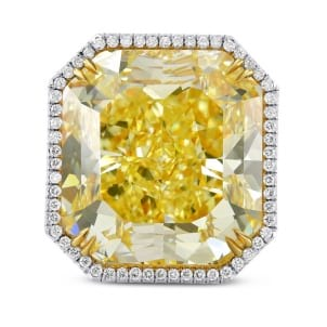 Extraordinary Fancy Yellow Radiant Diamond Ring 1735266