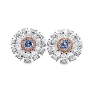 Fancy Intense Blue Diamond Flower Earrings 1735272