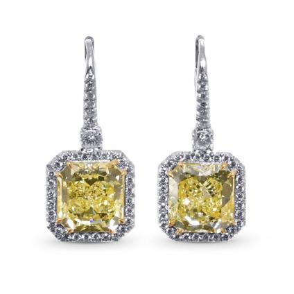Серьги, бриллиант Цвет: Желтый, Вес: 10.07 карат
