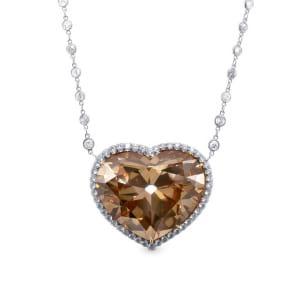 Extraordinary Fancy Brown Yellow Heart Shape Diamond Halo Pendant 173898