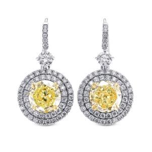 Серьги, бриллиант Цвет: Желтый, Вес: 6.41 карат