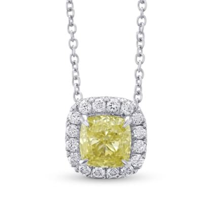 Fancy Yellow Cushion Halo Pendant 1747560