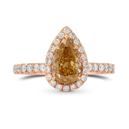 Fancy Brown Yellow Pear Diamond Ring 1748184