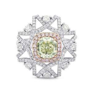 Fancy Yellow Green Cushion  & Pink Diamond Ring 1764342