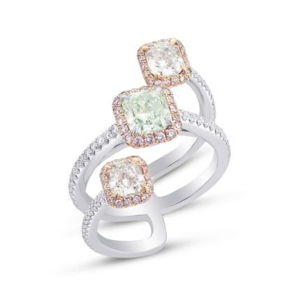 Trilogy Pink & Green Radiant Diamond Designer Ring 1764354