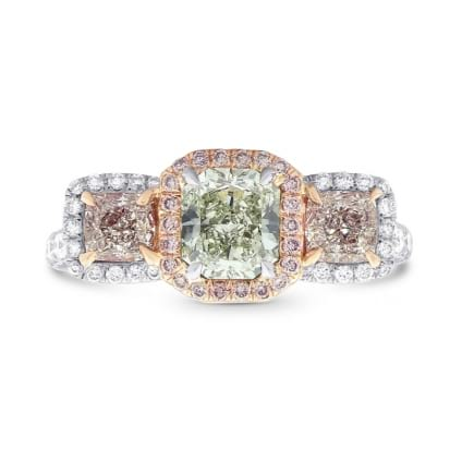 Extraordinary Green and Pink Radiant Diamond 3 Stone Ring 1767984