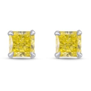 Fancy Intense Yellow Radiant Diamond Stud Earrings 1774728