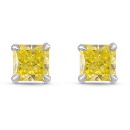 Fancy Intense Yellow Radiant Diamond Stud Earrings 1774728