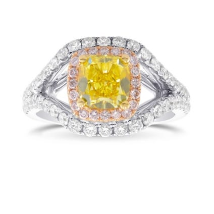 Vivid Yellow Cushion Shape, Fancy Pink and White Diamond Side Stones Ring 1804200