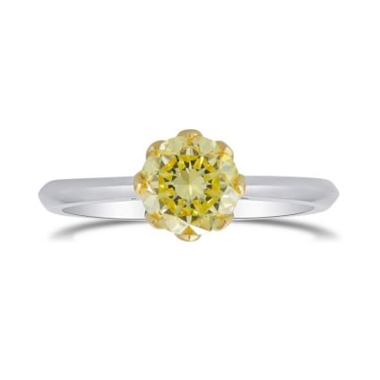 Fancy Yellow Round Brilliant Diamond Solitaire Ring 1812480