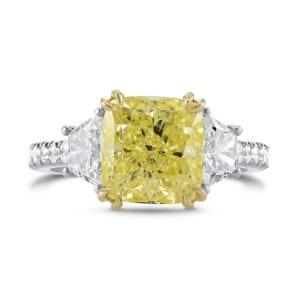 Fancy Yellow Cushion & Trapezoid Diamond Ring 1822842
