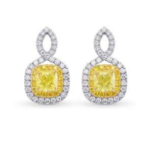 Fancy Yellow Cushion Double Halo Diamond Earrings 1838856