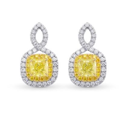 Fancy Yellow Cushion Double Halo Diamond Earrings 1838856