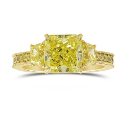 Fancy Yellow Radiant 3 Stones Ring 1862670