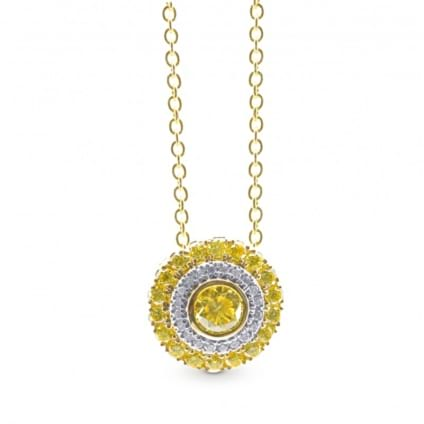 Fancy Intense Yellow Round Diamond Halo Pendant 1864530