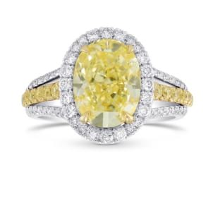 Fancy Light Yellow Oval Halo and Split Shank Ring 1880292