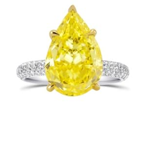 Fancy Vivid Yellow Pear Diamond Ring with Full Pave Rounded Shank 1891722