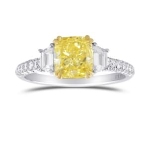 Fancy Yellow, Cushion and Trapezoid 3 Stone Diamond Ring 1893942