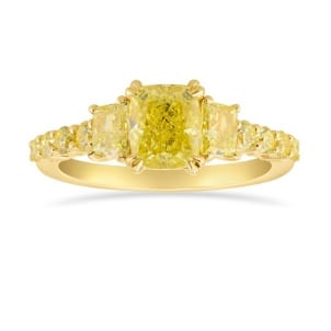 Fancy Yellow Cushion and Trapezoid Side Stones Ring 1894650