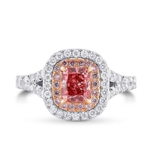 Fancy Deep Pink and Diamond Double Halo Ring 1899192