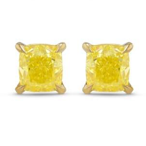 Fancy Intense Yellow Cushion Stud Earrings 1905450