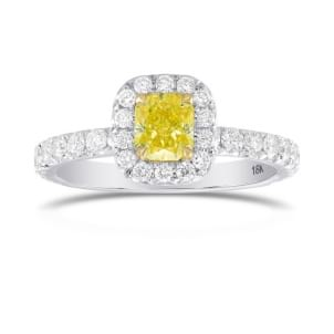 Fancy Intense Yellow Radiant, Queens Halo Diamond Ring 1917636
