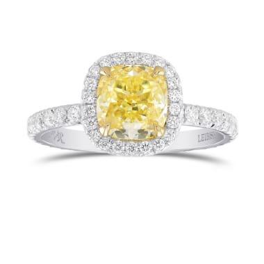Fancy Yellow Cushion Diamond Halo Ring 1923234