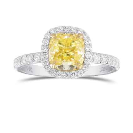 Fancy Yellow Cushion Diamond Halo Ring 1923234