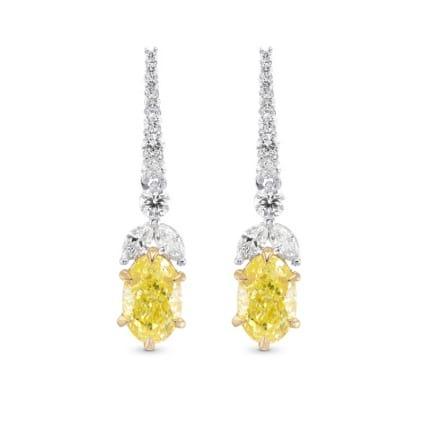 Серьги, бриллиант Цвет: Желтый, Вес: 2.10 карат