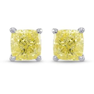 Fancy Yellow Cushion Diamond Stud Earrings 1943028