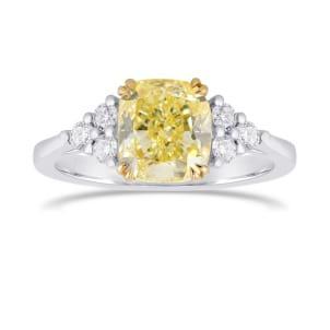 Fancy Light Yellow Cushion Side Stone Diamond ring 1971294