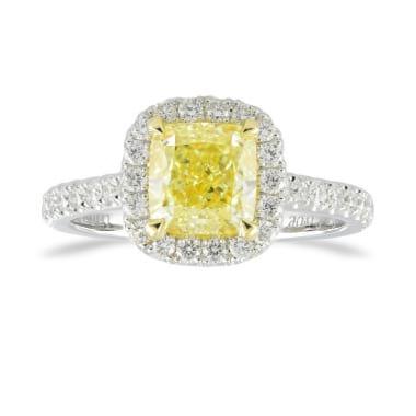 Fancy Yellow Cushion Diamond Halo Ring 1991106