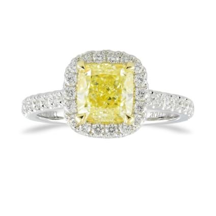 Fancy Yellow Cushion Diamond Halo Ring 1991106