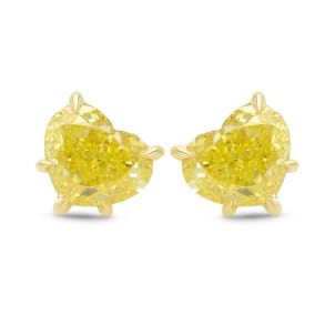 Fancy Intense Yellow Heart Stud Earrings 1991748