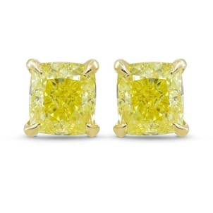 Fancy Yellow Cushion Diamond Stud Earrings 1999554