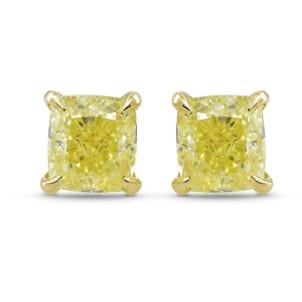 Fancy Yellow Cushion Diamond Stud Earrings 1999554