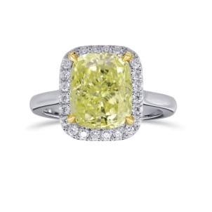 Fancy Light Yellow Cushion Diamond Halo Ring 2000088